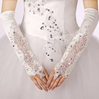 Wholesale 2015 New Arrival Elegant Fingerless Above Elbow length Wedding Gloves Satin Bridal Accessories with Beaded Applique Designs