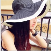 Wholesale HOT Black and white striped summer vacation folding large brimmed beach hat lady straw hat shading a15