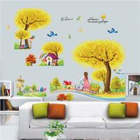 Wholesale 2015 d Cartoon Cute Romantic Bedroom Living Room TV Sofa Backdrop Self adhesive Wall Stickers Rainbow tree