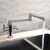 Wholesale HPB Contemporary Extension Chrome Finish Brass One Hole Two Handles Kitchen Faucet