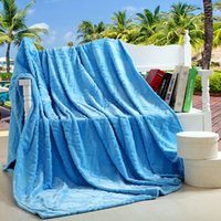 air conditionning - Fluffier Brushed Fleece Blanket for Bed Sofa Couch Air Conditionning Travel Throw Solid Color Sky Blue Single Twin Full Queen