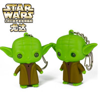 Wholesale 2015 Star Wars Master Vader Yoda LED keychain Light Luminous Couples key Pendant Movie character Jedi key rings hot