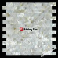 Wholesale Brick sea shell mosaic mother of pearl kitchen backsplash tiles MOP085 shell tiles mosaic bathroom wall flooring tiles mosaics