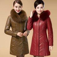 Wholesale Quinqua leather clothing genuine leather female medium long down coat plus size thickening mother clothing plus size fur