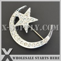 Wholesale DHL Moon Star Metal Bow Rhinesetone Brooch Pins with Safty Pin Backing for Bridal Wedding Dress Party Accessory