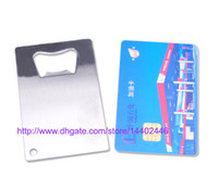 Wholesale 300pcs a DHL Freeshipping Polybag Packing Wallet Size Stainless Steel Credit Card Bottle Opener Openers