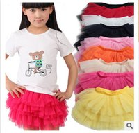 Wholesale cotton lining newest baby girl tiered tulle Skirts Mini Skirt tutu Skirt Pleated skirts for girls babies clothes tutus for girls m64