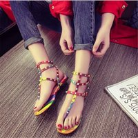shoe clips - Sandals for Women Fashion Rainbow Tidal Flat with Rivets Clip Toe Flat Roman Shoes Summer Sandals for Women