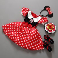 band clothing lines - Girl Minnie Dress Christmas Dot Red Girls Santa Clothes Child Fashion Cute Clothes with Hair band BY0000