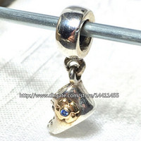baby real gold bracelet - Baby Bootie Dangle Charm Sterling Silver K Real Gold Bead with Blue Cz Fits European Pandora Jewelry Bracelets Necklaces