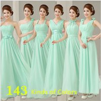Cheap Mint Bridesmaid Dresses To Party Long Formal Dresses Chiffon Light Green Prom Dresses Under $50 vestidos dama de honor A341
