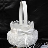 Wholesale 2015 New Wedding Ceremony Party Love Case Satin Bowknot Rose Flower Girl Basket