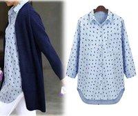 Cheap Asymmetrical Long Women Blouse Bird Print Casual Shirt Autumn Long Sleeve Tops for Ladies Oversized 5XL Woman Clothes