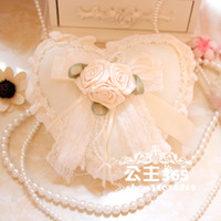 Wholesale 2016 Cheapest Heart Design Wedding Ring Pillow Wedding Favor Flower Decorations Silk Ribbon Special Unique Ring Pillow MG06