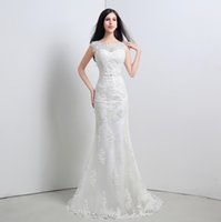 Wholesale Vestidos De Novia Wedding Dresses Mermaid Style Capped Sleeve Back Lace Up In Stock Real Picture Ivory Bridal Gowns