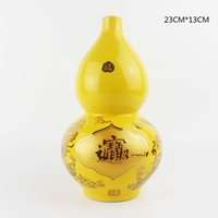 Wholesale 2016 New style Chinese ceramic yellow vase decoration Jingdezhen porcelain lucky and money drawing home decoration gift for new house