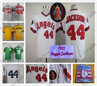 angels jackson - Reggie Jackson Jersey Of Career Los Angeles Angels Oakland Athletics NYK Jerseys White Yellow Green Grey