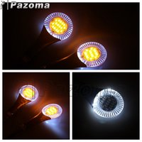 Wholesale PAZOMA Universal Motorcycle LED Turn Signal Lamp Clear Lens Blinker Signal Light Amber White Aureole indicator Lamp