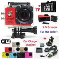 Wholesale SJ7000 P Full HD WiFi Sports Camera FPS MP Waterproof Action Camera GB TF card Charger Car bracket LCD Helmet Video DVR