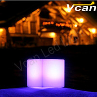 battery operated mood lighting - 4PCS DHL cm PE plastic outdoor rgb led battery operated light Led mood light cube