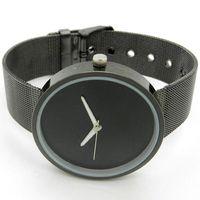 Cheap Wholesale-Simple Style Black Metal Iron Net Web Mesh Band Fashion Quartz Wrist Watch Hours Q1003