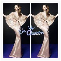 Cheap 2015 Exquisite Deep V-neck With Lace shawl Mermaid Natural Waist Floor length Satin Zuhair Murad Dress Evening Dresses Celebrity Dresses
