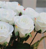 red velvet flower - Artificial Velvet Roses Flower Single Stem Floor Mounted Rose Flowers RED PURPLE HOT PINK BLUE WHITE for Wedding Party Decorative Flower