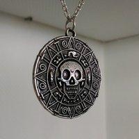 aztec sweater men - 500pcs Pirates of the Caribbean Aztec Gold Coin Necklace Men Skull Sweater Pendant Jewelry