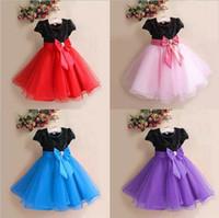 Boy big clothing brands - Childrens Clothing Short Sleeve Sequins Dresses For Girls Big Bowknot Belt Fashion Princess Dresses