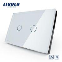Wholesale US AU Manufacturer Livolo Ivory White Crystal Glass Panel VL C302DR V Hz Wireless Dimmer Remote Light switch A5