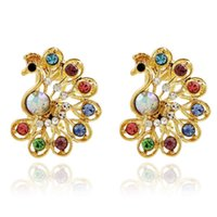 bargain diamonds - E348 Korea fashion luxury full diamond earrings NEW Colorful Peacock bargains