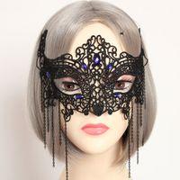 beautiful face masks - Beautiful Party Masks Costume Ball Sexy Lace Masks Black Half Mask Resin Rhinestones Holloween Masks