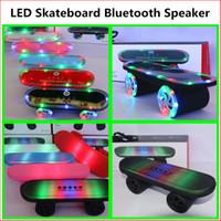 mini skateboard - Skateboard Bluetooth Speaker BT03L With Pulse LED Light Flashing Stereo Audio Sound Protable Pill XL Rugby Speaker Subwoofer Mini Speaker