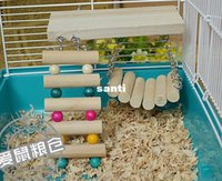 Wholesale Fashion Hot Pet Bird Hamster Wooden Toy Rat Mouse Parrot Hanging Ladder Bridge Shelf Cage