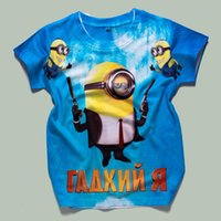 Wholesale Free ship spring new summer yellow tops tees children t shirts Minions cartoon cotton boys clothes girl t shirt D