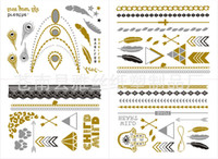Wholesale Gold Silver and Black Flash Inspired Metallic Jewelry Christmas Gifts Temporary Tattoos