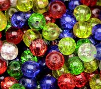 Wholesale Fashion Jewelry Charm Round Smooth Glass Crackle beads Small Hole Beads Jewelry Findings Multicolor B177