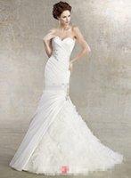 Cheap Hot New Elegant Mermaid Bridal Beading Ivory Taffeta and Organza Flamboyantly Mermaid Grecian Style Wedding Dresses