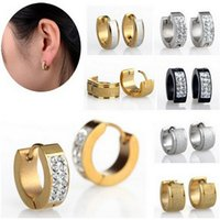 Wholesale Classic Design Cool Rock Unisex Goth L Stainless Steel Earrings Shiny Crystal Studs Earring for Man Woman Promotion