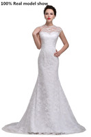 Wholesale Vintage Lace Wedding Dresses Jewel Amazing Sexy Sheer Neck Beach Cap Sleeve Mermaid Real Images Modest Custom Made Bridal Gowns