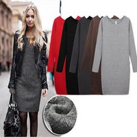Wholesale 2015 Women Cashmere Warm Dresses Long Sleeve Autumn Winter Velvet Vestido Vestidos Sheath Warm Work Party XXXL