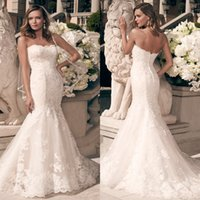 Wholesale Fall Lace Wedding Dresses Sexy Mermaid Strapless Trumpet Court Train Light Champagne Lace and Tulle Bridal Wedding Gowns