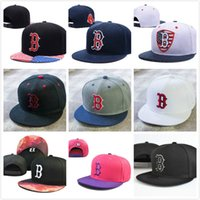 b baseball - New arrival classic red sox baseball caps five panel brand hip hop cap swag style fitted hats snapback letter B bones