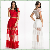 maxi skirt and dress - 2015 Women Two Piece Set Dress Red White Perspective Lace Gauze Maxi Skirt Set and Crop Top Long Floor Mesh Skirt Prom Party Outfits