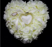 Wholesale sexyback Very Special Unique Ring Pillow Decorations Favor Wedding Favors Ring Pillow With Transprent Ring Box Heart Design AE02699