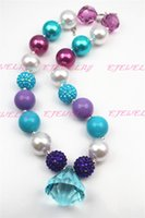 beaded drop necklace - Xmas Gifts Necklace light blue water drop Purple beads chunky necklaces for girls and kids CB272