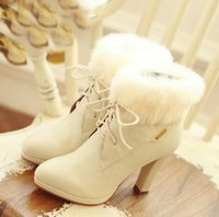 Wholesale 2014 autumn and winter shoes sweet rice white rabbit fur short boots with thick lace front high heeled boots women Martin