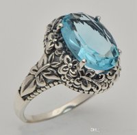 antique aquamarine jewelry - 2015 new trend fashion personality women sterling silver jewelry fine carving antique oval aquamarine ring