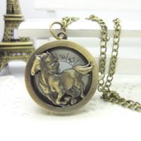antique horse clocks - Vintage zodiac Horse Pocket Watches Steampunk Antique Bronze Watch Necklace Chain Clock Friend Gifts mm