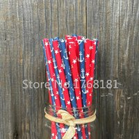 anchor paper - 200pcs Mixed Designs party Paper Straws Red with White Stars Nautical Party Navy Anchor Birthday Drinking Straws Mason Jars